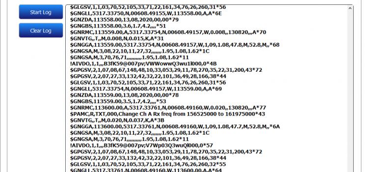 A screenshot of the B600s configuration tool; serial data view showing NMEA sentences