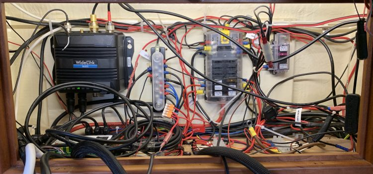 A photo of the wiring locker showing the complete mess of wiring that needs to be sorted out